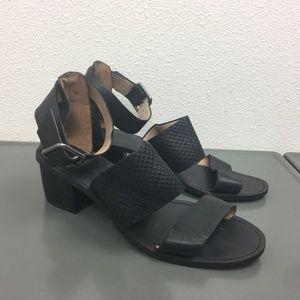 Madewell Black Leather Block Heeled Sandals Sz 7.5